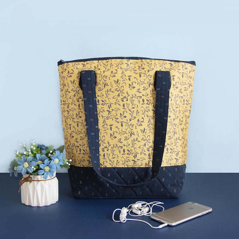 Tote Bag (Yellow And Blue Floral)