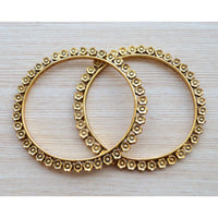 Traditional Antique Gold Flower Bangle Pair