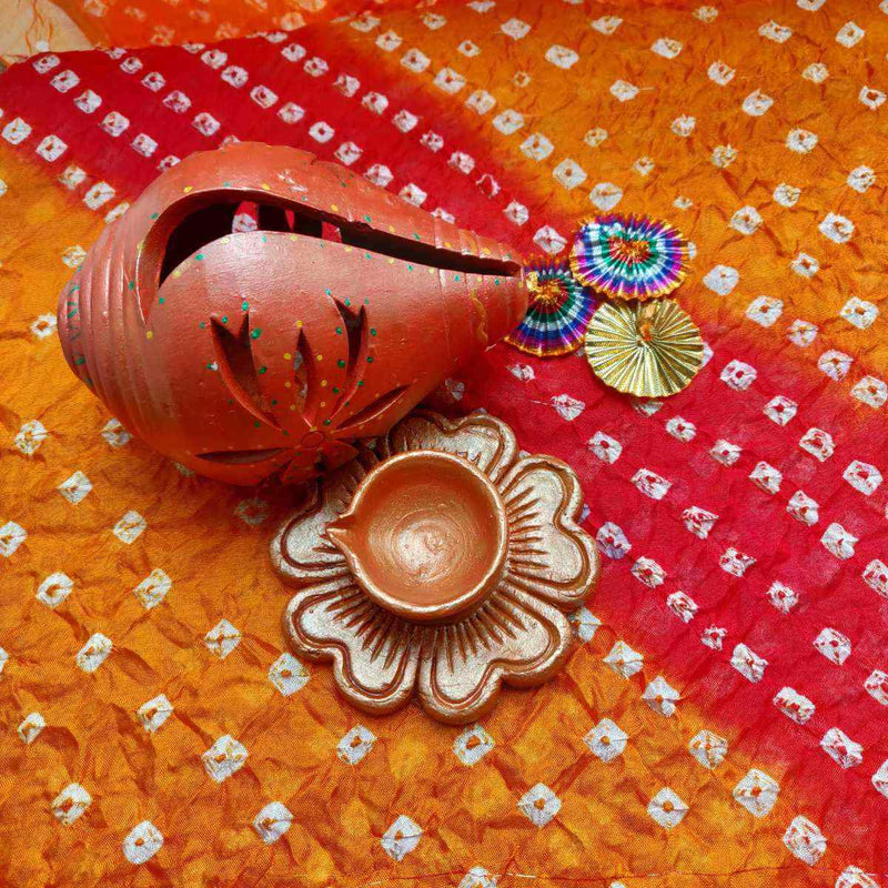 Traditional Shankh Shaped Terracotta Diya
