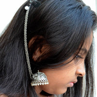 Traditional Silver Jhumka with Ear Chain