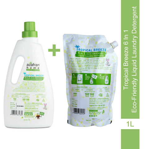 Tropical Breeze 6 in 1 Eco-friendly Liquid Laundry Detergent  Bottle + Refill Combo(1L +1L)