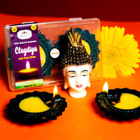 Clay Diya With Pure Ghee (Pure Tulsi Essential Oil)  - 2 Units (Big)