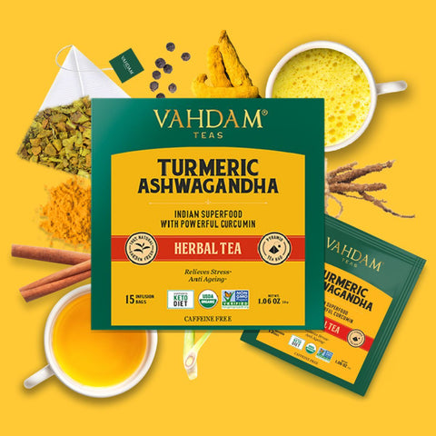 Turmeric Ashwagandha Herbal Tea (15 Pyramid Tea Bags)