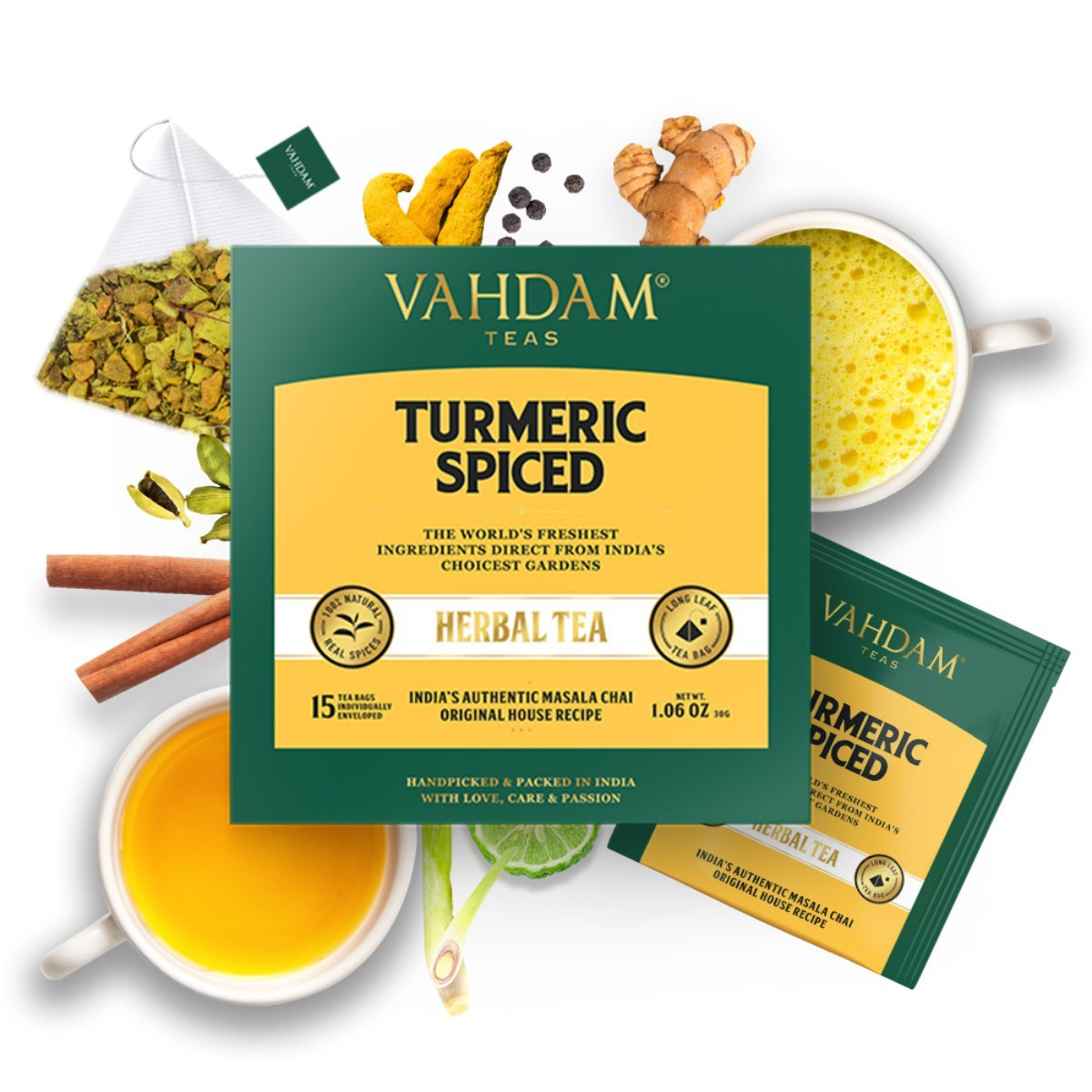 Turmeric Spiced Herbal Tea (15 Pyramid Tea Bags)