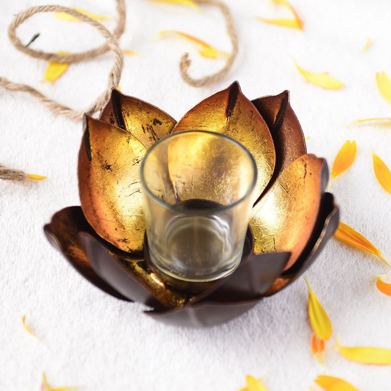 Handcrafted Lotus Tea Light Candle Holder