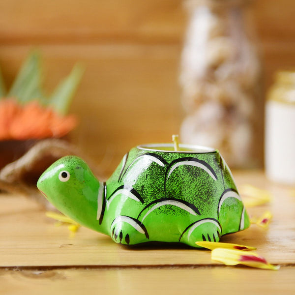 Handmade Tortoise Candle Holder From The Tales Of Panchatantra