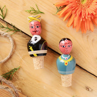 Coorgi Couple Hand Painted Wine Stopper