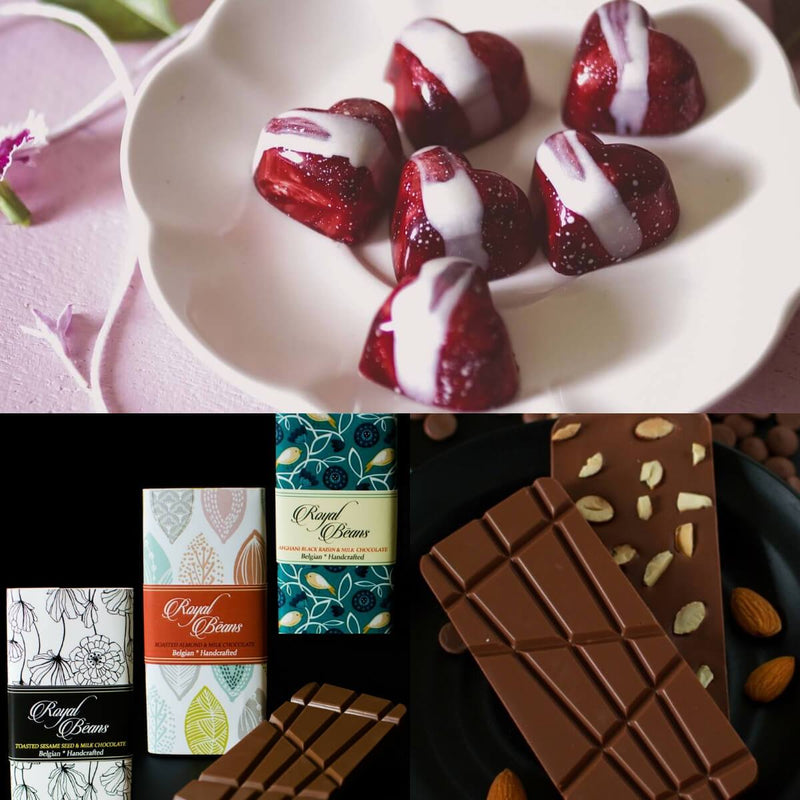 Valentines Special Gift Box Combo 6 (9 Strawberry Sweethearts Chocolate Bonbons And 3 Best Belgian Chocolate Bars)