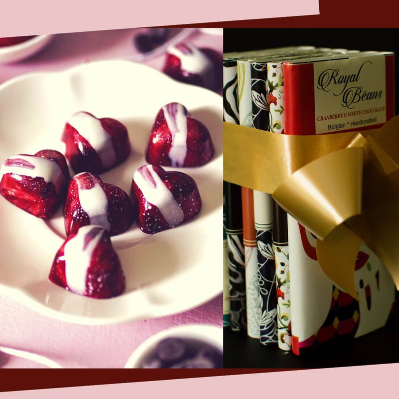 Valentines Special Gift Box Combo 7 (16 Strawberry Sweethearts Chocolate Bonbons And 7 Best Belgian Chocolate Bars)