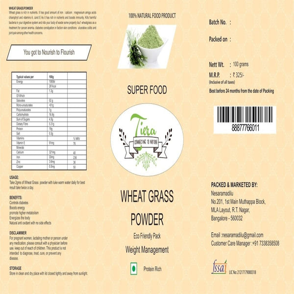 Wheat Grass Powder (100% Natural) at Qtrove