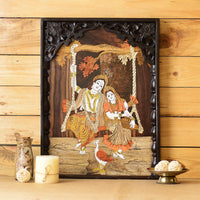 Rosewood Radha Krishna on Swing Wall Hanging