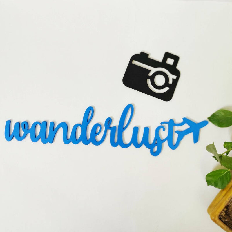 Wooden Wanderlust With A Camera Wall Hanging