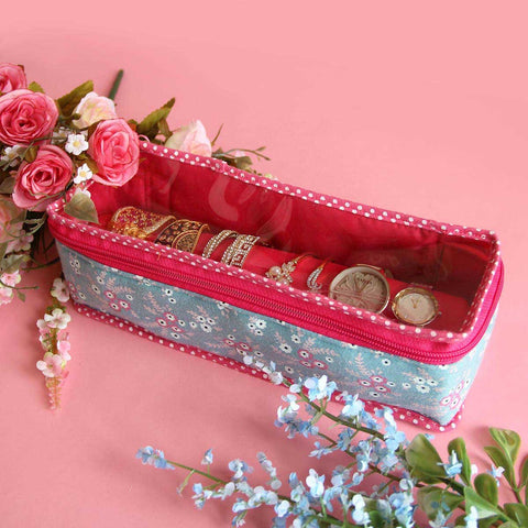 Bangle/Watch Organiser (Blue and Pink Floral)