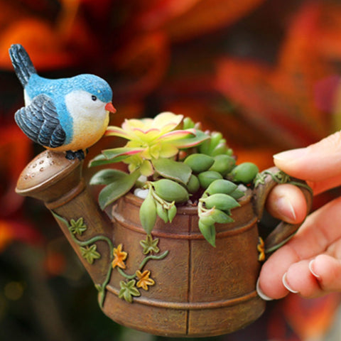 Watering Can With Bird Resin Succulent Pot