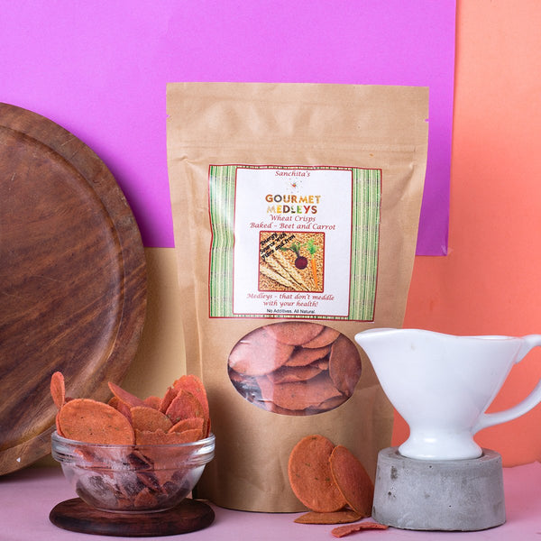 All Natural Baked Wheat Crisps (Beetroot & Carrot) at Qtrove