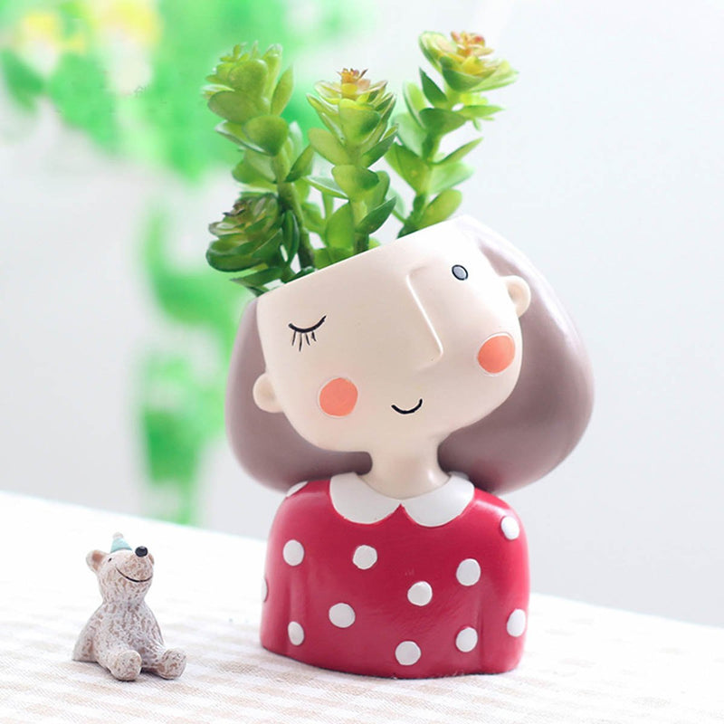 Winking Girl With Polka Resin Succulent Pot