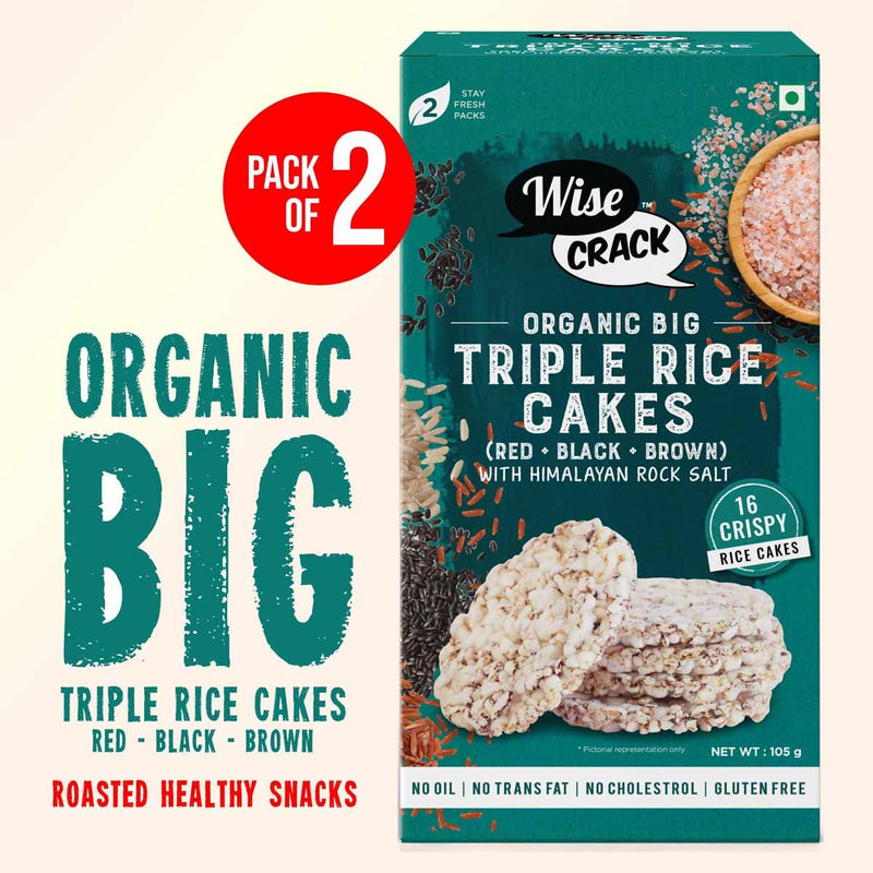 Puffed Triple Rice Cake Organic Whole Grain Puffed and Healthy Snack Black RED Brown Rice