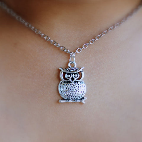 Wise Owl Pendant with Chain Necklace