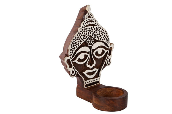 Wooden Engraved Buddha Table Cum Wall Tealight Holder at Qtrove