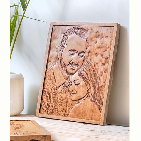Wooden Engraved Portrait - Large