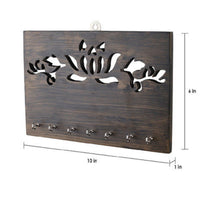 Wooden Key Holder - Brown Lotus