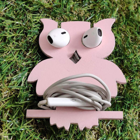 Wooden Owl Earphone Organizer