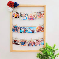 Wooden picture Photo Frame with 12 Wooden Clips