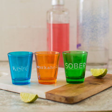 Shot Glass (Set of 3) (Wasted/Sober/Workaholic)
