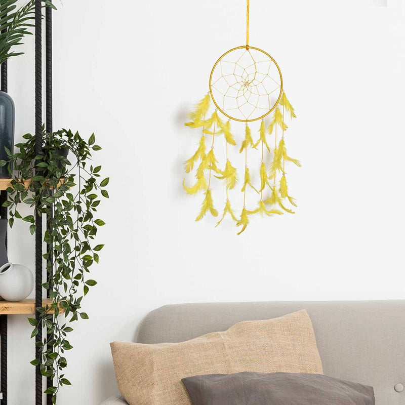 Yellow Color Dream Catcher Wall Hanging (Medium)