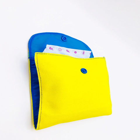 Yellow SanitaryPad Pouch (2 Pockets) Blue Lining & Button