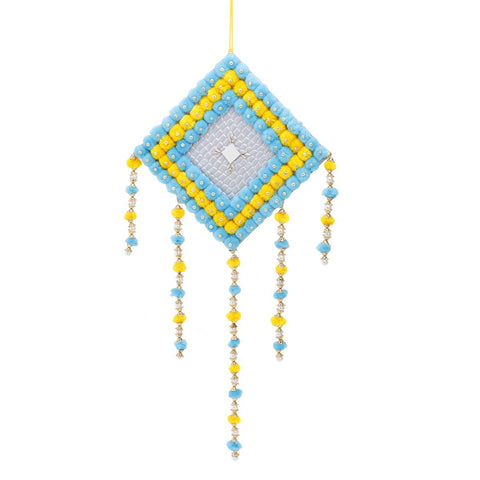 Pompom Decorative Wall Hanging - Yellow & Blue (Large)