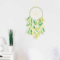 Yellow & Green Color  Feathers Wall Hanging (Medium)