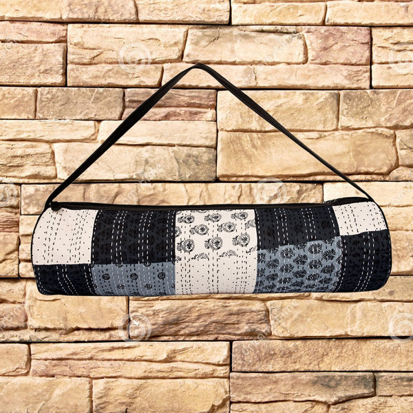 Yoga Mat Bag (Hand Block Printed Patchwork With Kantha Embroidery ) (Black & White) at Qtrove