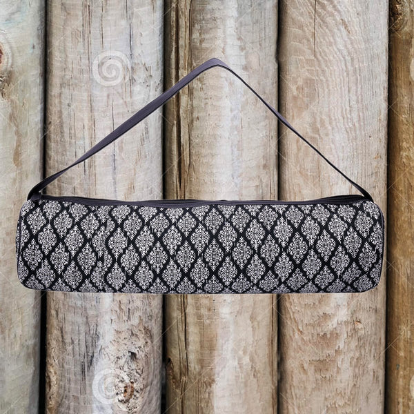 Yoga Mat Bag (Hand Block Print With Kantha Embroidery)(Black & White) at Qtrove