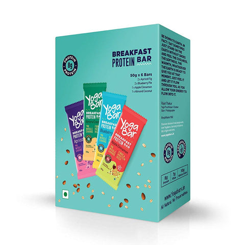 Breakfast Protein Variety (Almond Coconut, Apricot & Fig, Blueberry, Apple Cinnamon Bars - 300 gm, 6 x 50 g (Box of 6 Bars)