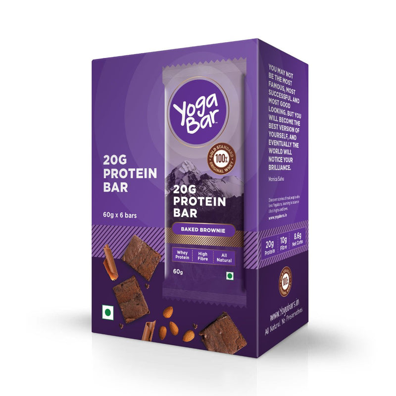 Protein Chocolate Brownie Bars - 360 gm, 6 x 60 g (Box of 6 Bars)