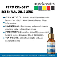 Zero Congest Pure Blend Of Tea Tree, Lavender, Peppermint, Eucalyptus Oil (For Sinus Relief, Nasal Reliever)