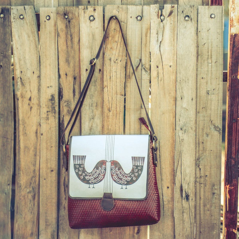Bird Print Medium Large Sling Bag (Maroon Brown)