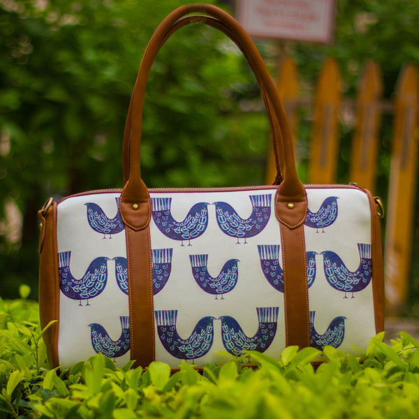 The Ink Blue Bird Series Duffel Totes