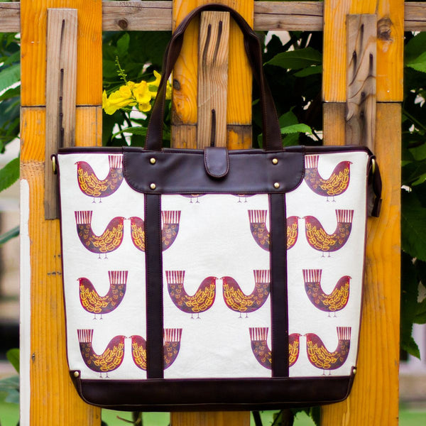 The Burgundy Red Bird Series Carryall Totes