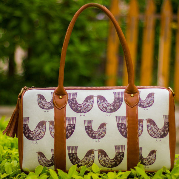 The Burgundy Brown Bird Series Duffel Totes