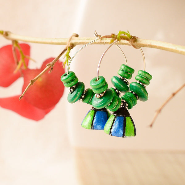 Eco-Friendly Blue And Green Hoop Terracotta Earrings at Qtrove