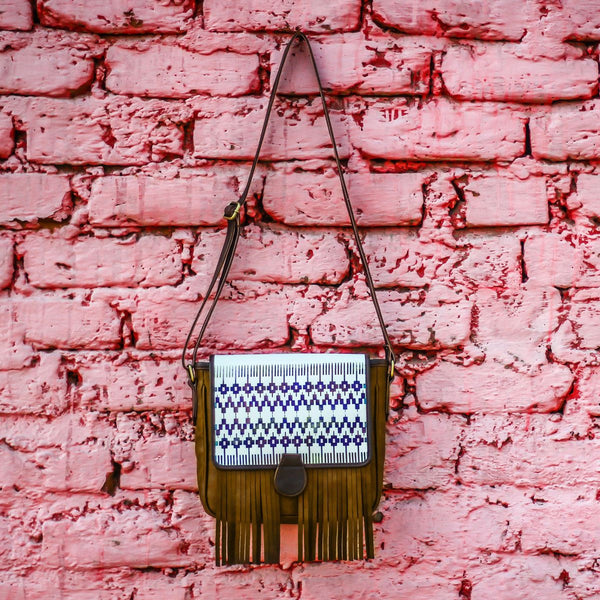 Batik Print Fringe Sling Bag (Blue Khaki) at Qtrove
