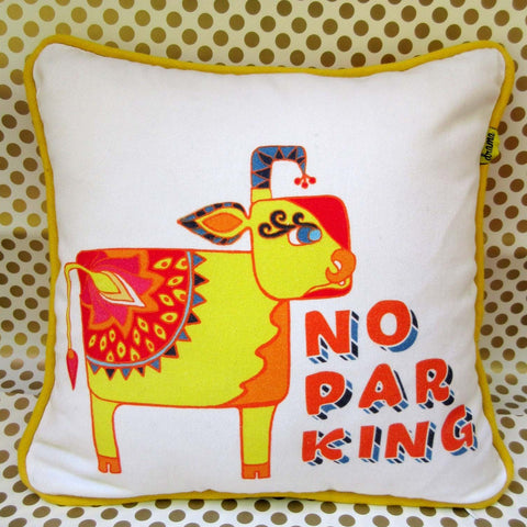 No Parking Cow Throw Pillow Cover