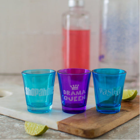 Shot glasses (Set of 3) (Wasted/Shopaholic/DramaQueen)