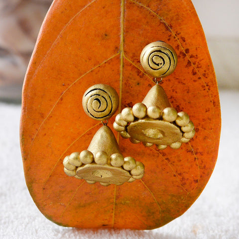 Eco-Friendly Golden Terracotta Jhumka