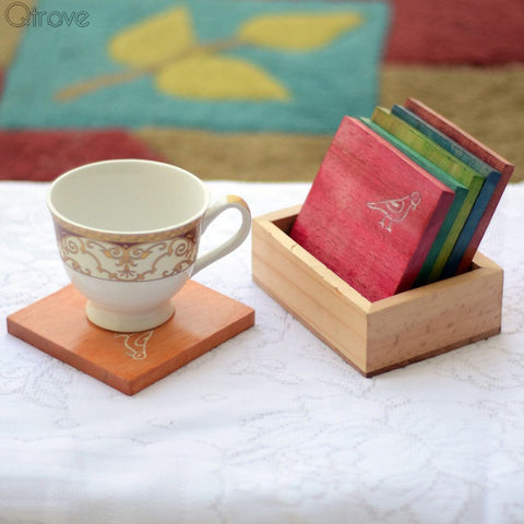 Multicoloured Parrot Carving Coasters Set With Carved Stand (Set of 6)