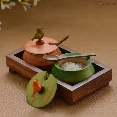 Wooden Parrot Jar Set With Tray And Spoon In Wood