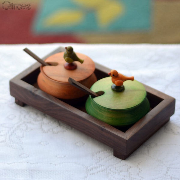 Wooden Parrot Jar Set With Tray And Spoon In Wood at Qtrove