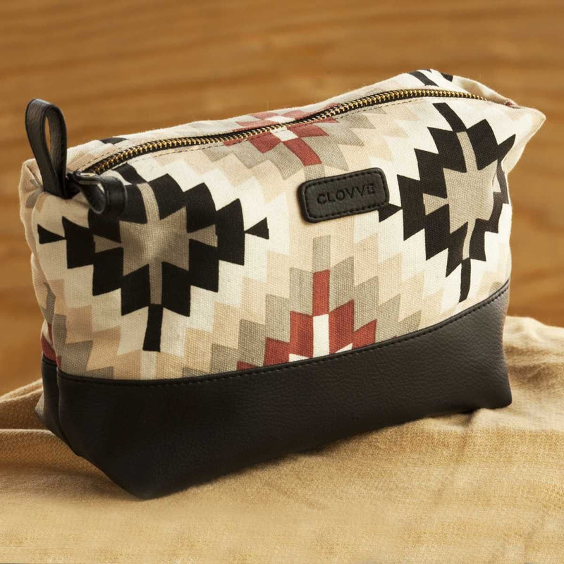Handcrafted Aztec Faux Leather Travel Pouch